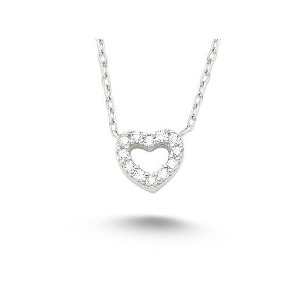 Silver Open Heart Necklace for Child