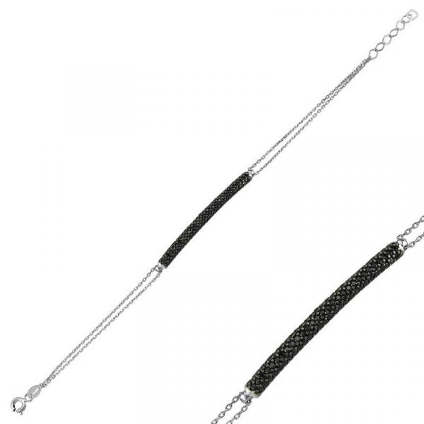 Black Curved Bar Bracelet in Silver