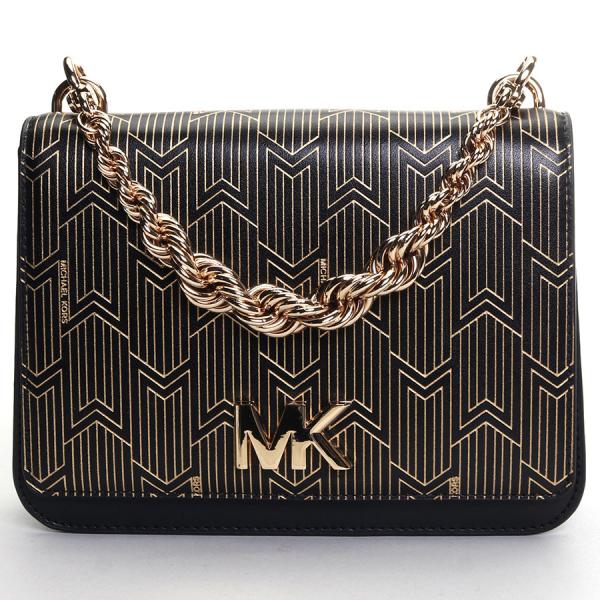 Michael Kors / MOTT LARGE TWIST CHAIN SWAG SHOULDER BAG - BLACK /GOLD