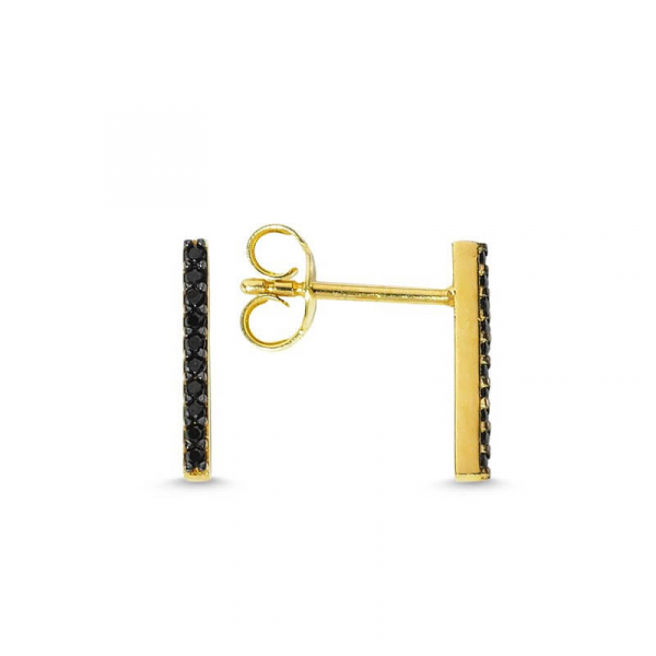 Black Bar Stud Earrings in Gold
