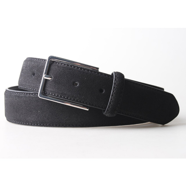 Remy Suede Leather 3.5 CM Belt - Black