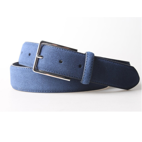 Remy Suede Leather 3.5 CM Belt - Navy