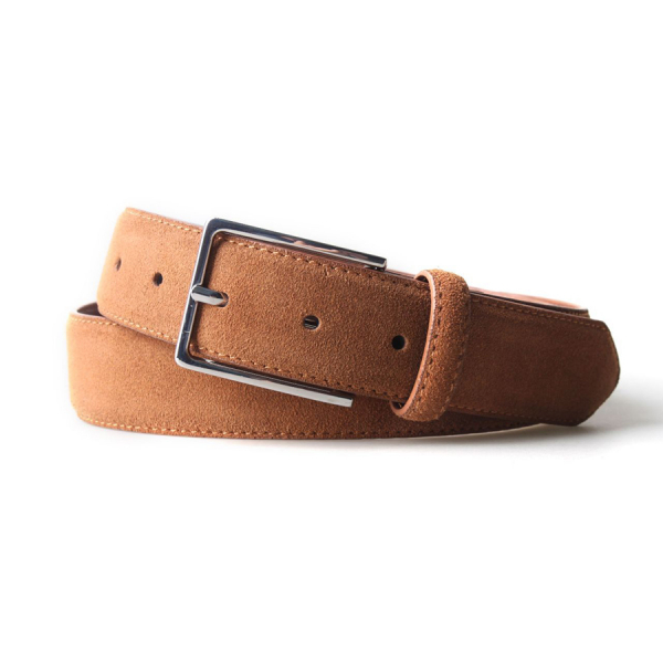 Remy Suede Leather 3.5 CM Belt - Tobacco