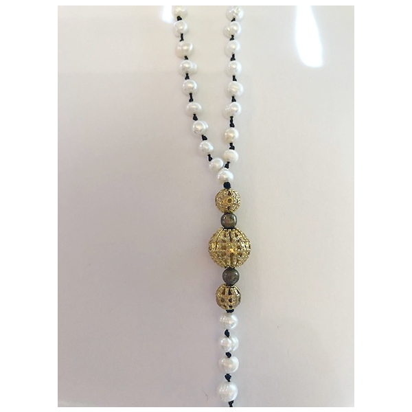Fresh Water Pearls & Gold Filigree Necklace - Dark Tassels