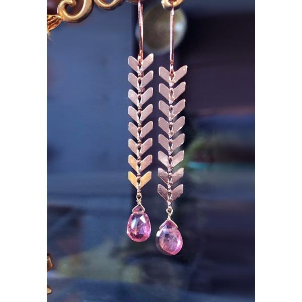 Chevron Earrings w/Pink Tourmaline