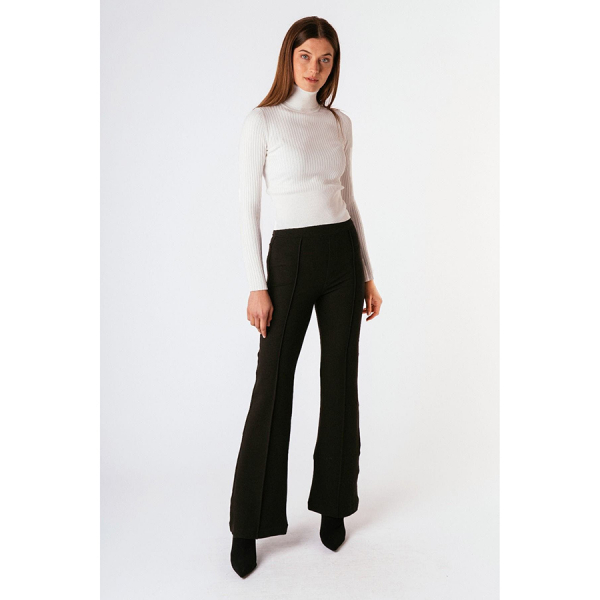 PULL ON PONTE FLARE WITH FRONT SEAM - BLACK