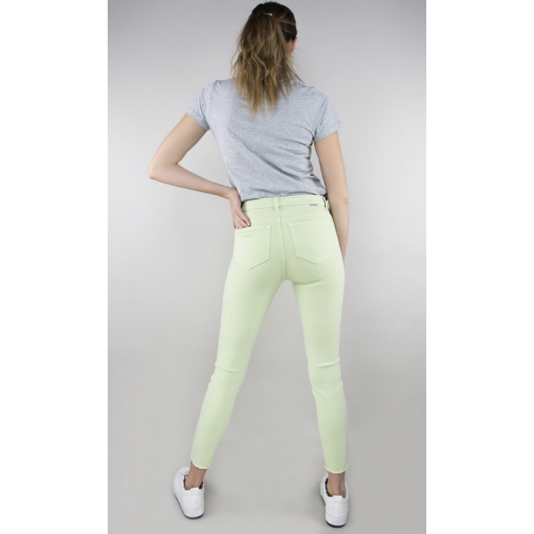 Tractr Jeans Mona High-Rise Frey Hem Skinny - SEAFOAM MIST