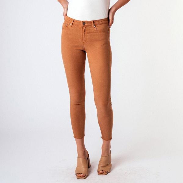 MONA BASIC HIGH WAIST SKINNY CROP PANTS - CHIP MUNK