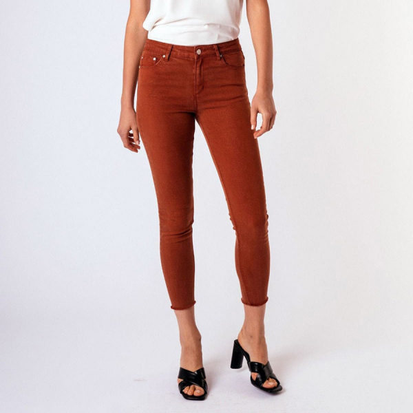 MONA BASIC HIGH WAIST SKINNY CROP PANTS - CINNAMON
