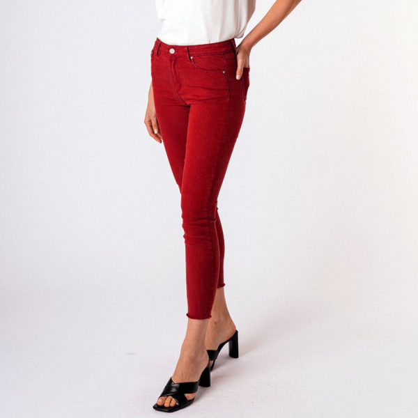 MONA BASIC HIGH WAIST SKINNY CROP PANTS - CRIMSON