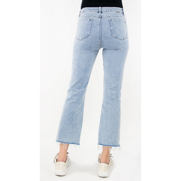 Tractr Jeans High-Rise Frayed Hem Crop Flare - Light Indigo