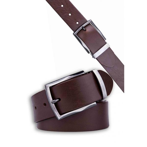 Landmark / Men's Italian Genuine Leather Belt - DARK BROWN