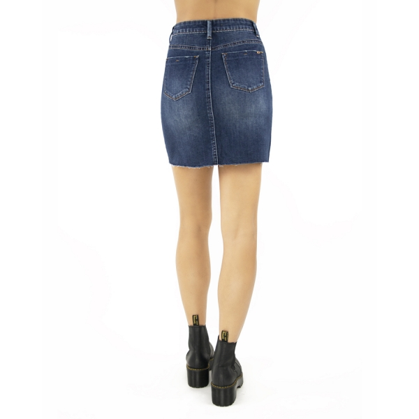 Tractr Blu Lisa Raw Cut Denim Skirt - MID-INDIGO