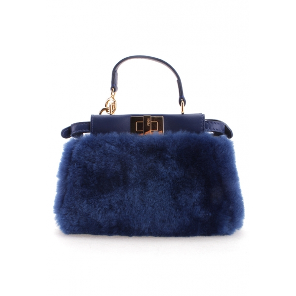 FENDI / FUR PURSE w/DETACHABLE STRAP - MIRTILLO