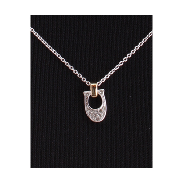 COACH JEWELRY / PAVE SIGNATURE NECKLACE - SILVER & GOLD