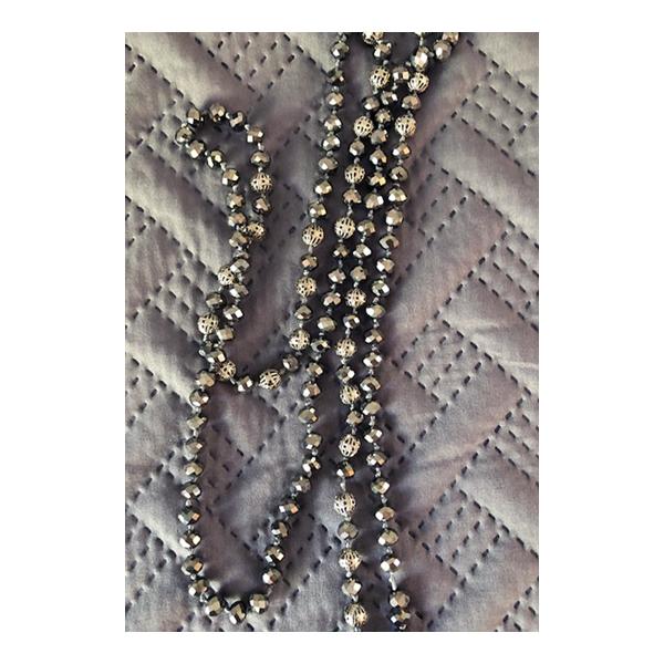Swarovski Silver Crystal & Silver Bead Lariat Necklace