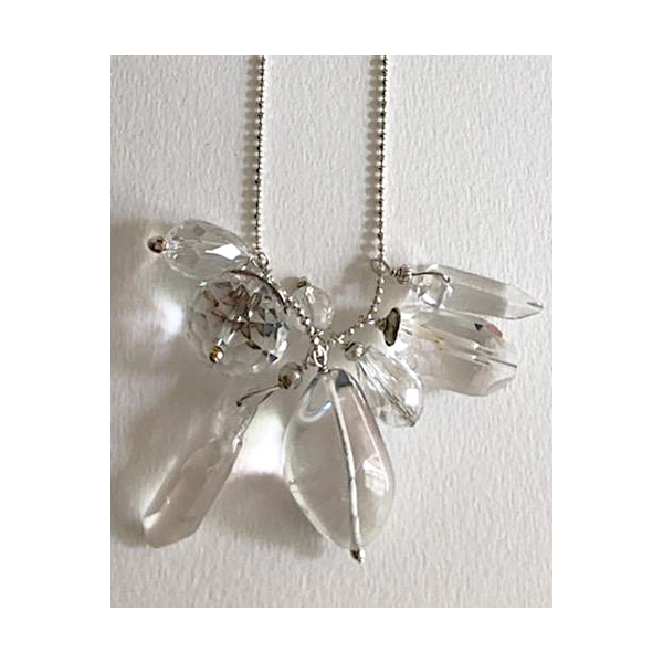 Clear Quartz Crystals Necklace - Silver Chain