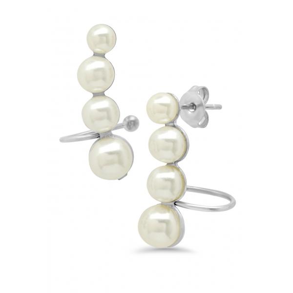 Pearls Ear-Climber EarringsSilverStainless Steel
