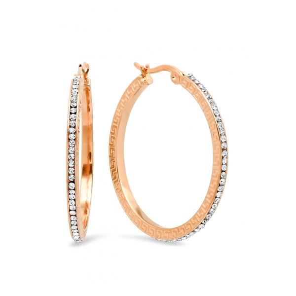 Greek Key Hoop Earrings w/StonesRoseGldRose Gold