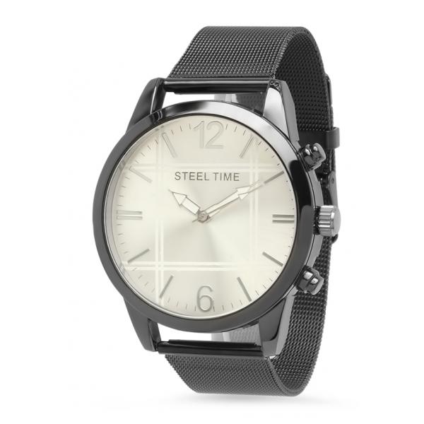 Steel Time Watch w/Mesh Band - Black