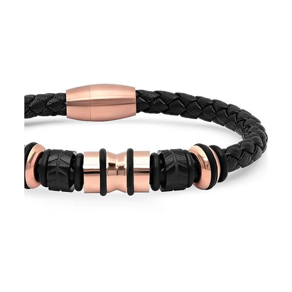 Black Braided Leather Cable-Bracelet w/Rose Gold Accents