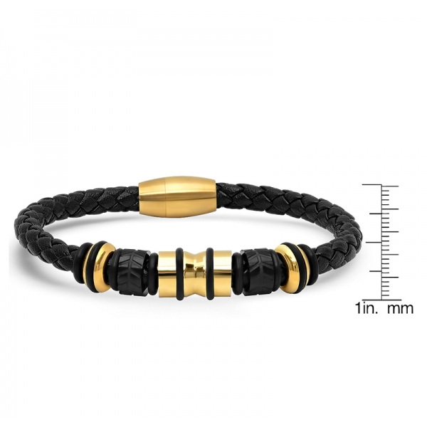 Black Braided Leather Cable-Bracelet w/Goldl Accents