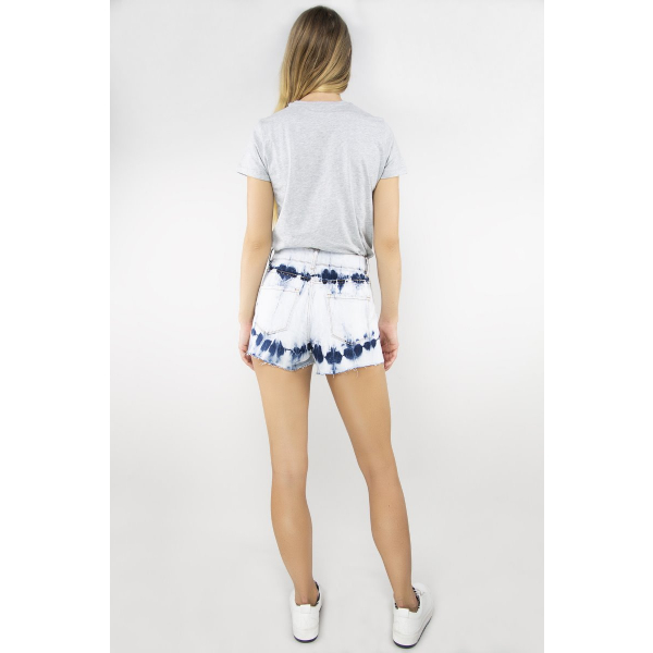 Tractr Blu High Rise Tie Dye Short - INDIGO