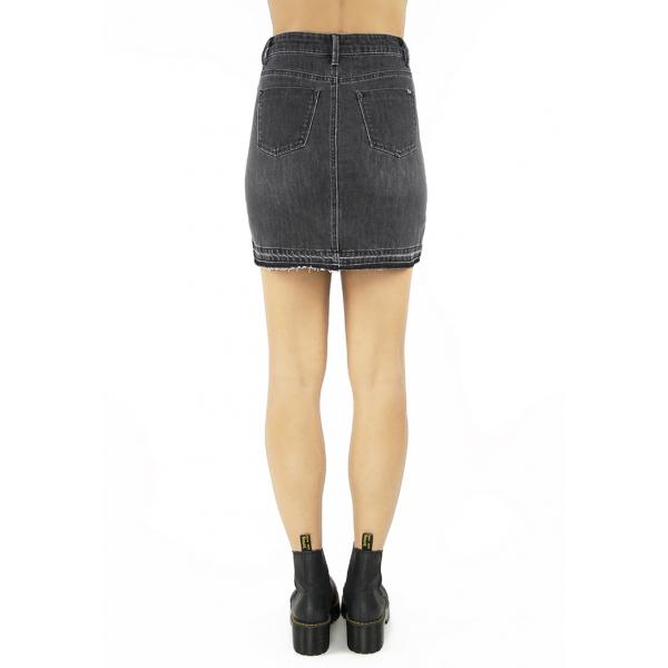 Tractr Blu Lisa Released Hem Denim Skirt - Black