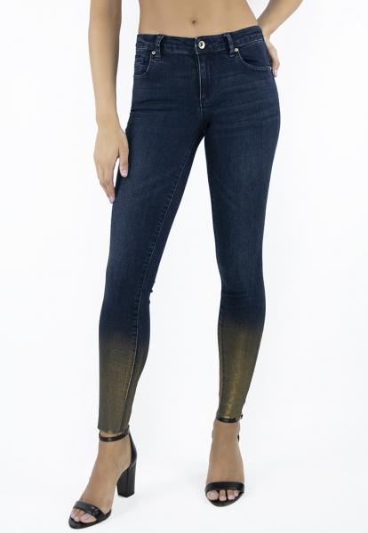 Tractr Blu Heidi Mid-Rise Gold Foil Hem Skinny - Indigo