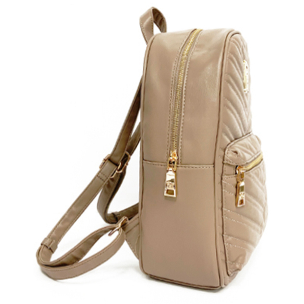 Badgley Mischka Vegan Quilted Backpack Purse / Taupe