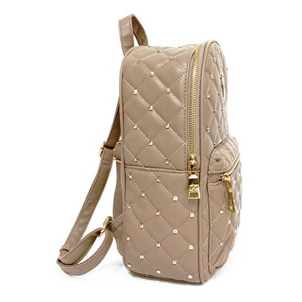 Badgley Mischka Vegan Quilted Studded Backpack Purse / Taupe
