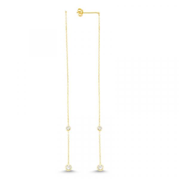 Diamond Threader Earrings in Gold