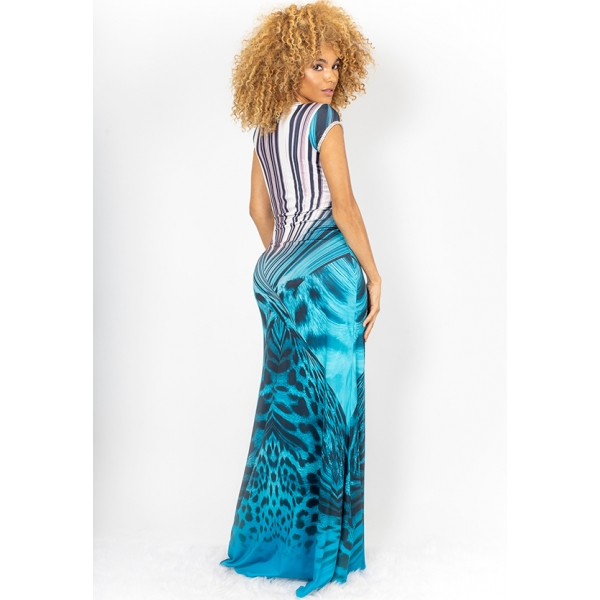 JAZMIN SPANDEX CRYSTAL LONG - AQUA CHEETAH STRIPE