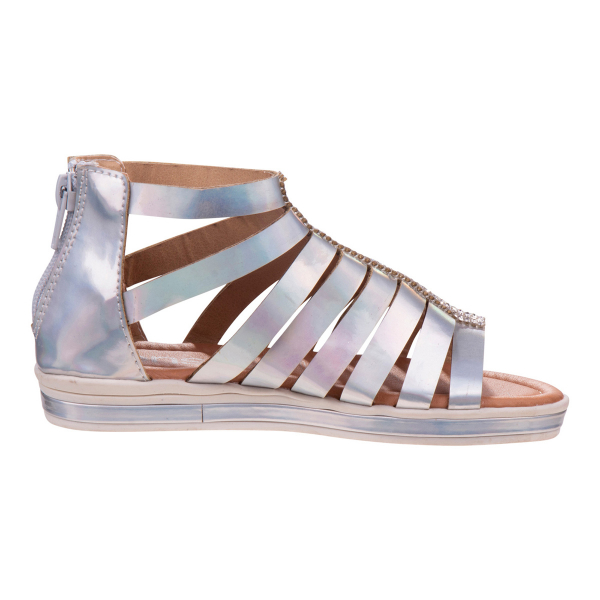 Gladiator Sandal with Embellishment - Silver