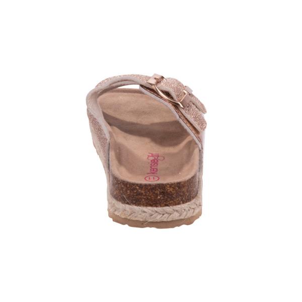 Glitery Buckle Slip-on Sandal  - Rose Gold