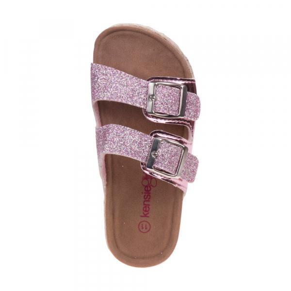 Glitery Buckle Slip-on Sandal  - Pink