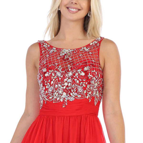 EMBELLISHED FLOWY MAXI DRESS - RED