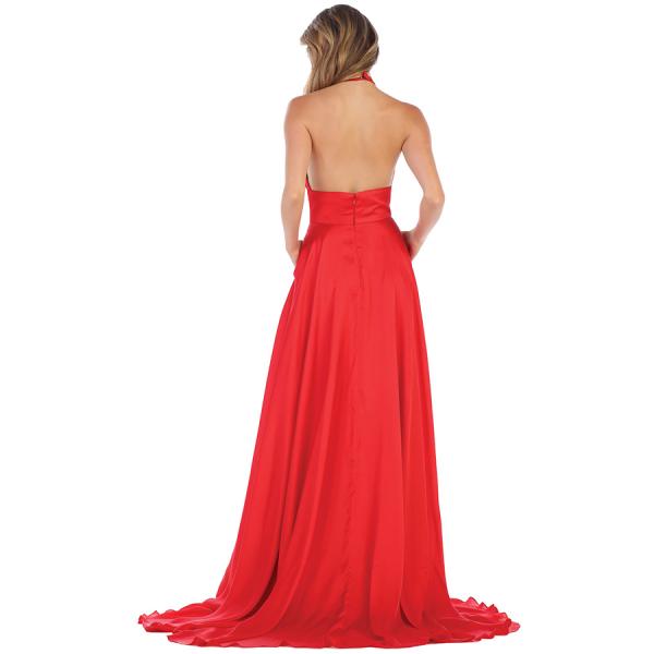 HALTER MAXI EVENING DRESS - RED