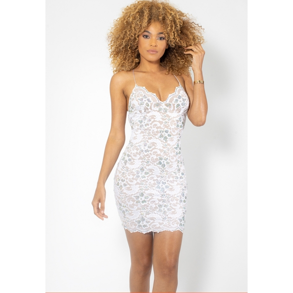NAYLET FULL CRYSTALS SHORT - WHITE LACE