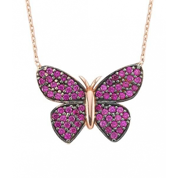 Pink Butterfly Necklace in Rose Gold