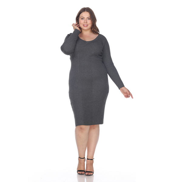 Plus Size Destiny Sweater Dress - Charcoal