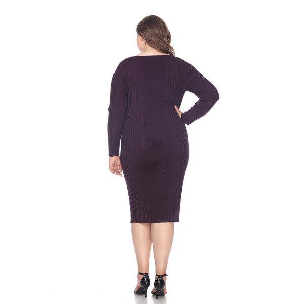 Plus Size Destiny Sweater Dress - Purple